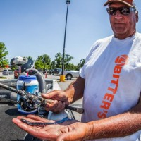 John Bitter at the FLW event on Seminole using a Junebug blue silver 8 inch ribbontail
